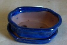 "Lovely Bonsai Pot & Attached Saucer Small 4"" long NEW, Blue Curved"