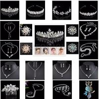 Crystal Crown Tiara Brooch Wedding Bridal Bridesmaid Prom Headband Necklace Set
