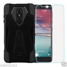 Black Shockproof Rugged Case w/Stand Cover+Tempered Glass for ZTE ZMax Pro Z981