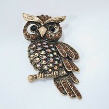 antique tone owl Brooch Pin pendant high quality brown crystal