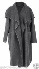 New Plus Size Ladies Boiled Wool Mix Long Waterfall Pocket Duster Jacket Coat