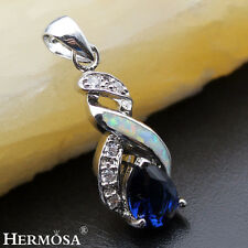 """Hermosa® Christmas New 925 Sterling Silver Opal Sapphire Necklace Pendant 1 1/8"""""""