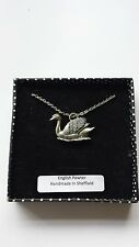 B27 Swan  fine english pewter 3D Platinum Plated Necklace Handmade 18 INCH