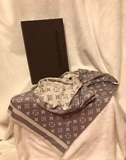 LOUIS VUITTON Monogram LILAC Cream Scarf Muffler, Cashmere, NEW IN BOX