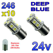10 x Blue 24v LED BA15s 246 R10W 13 SMD Number Plate Interior Bulbs HGV Truck