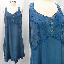 Vtg 90s Coline Blue Embroidered Rayon Slip Dress Corset-Back Boho Grunge XL
