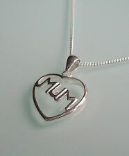 BRAND NEW STERLING SILVER & CUBIC ZIRCONIA HEART MUM NECKLACE - GIFT BOXED
