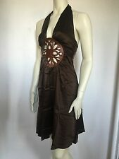 ingwa melero celebrity style solar halter silk dress chocolate with leather S
