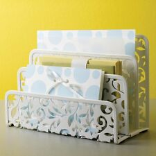 Letter Holder Home Office Desktop Organizer White Stamped Steel Vinea Design New