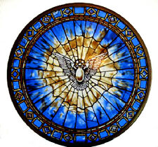"""CHRISTIAN GIFT --Glassmasters  """"The Holy Spirit"""" Round Stained Glass Panel, New"""