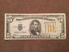 1934A 5 Dollar Bill WW2 Silver Certificate Yellow Seal