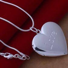 Collar 925 Platead Gargantilla Colgante Corazón Amor Locket Foto Necklace