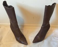 Size 8.5 CHARLES DAVID Soft Leather Brown Zip Up High Heel Boots ITALY GREAT