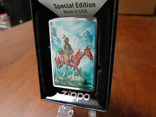 INDIAN BRAVE ON HORSEBACK IN MOUNTAINS ZIPPO LIGHTER MINT IN BOX RUSS DOCKEN