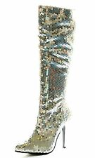 Ellie Tall Boots SIZE 8 Silver Sequined Go- Go Disco Club Stiletto Heel Womens