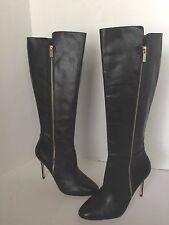 Michael Kors Clara Black Dress Knee High Leather Boots 10