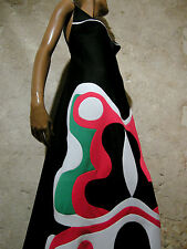 CHIC VINTAGE ROBE LONGUE 1970 VTG MAXI DRESS 70s MOD PSYCHEDELIC KLEID (36/38)