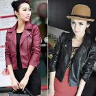 Womens Punk PU Leather Cropped Biker Jackets Ladies Oblique Zip Lapel Coats 6-16