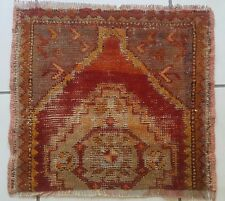 Vintage Handwoven Faded Color Low Pile Condition Small Square Yastik Rug 1.4X1.6