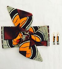 Ladies Headband and Earrings Set Head Wrap Hair Accessory Multi print