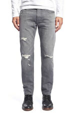 7 FOR ALL MANKIND PAXTYN MEN'S GRAY DESTROYED SKINNY FIT JEANS SIZE 33 NEW