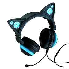 Brookstone Cat Ear Gaming Mic Headphones LED Music Lights Rechargeable BLUE
