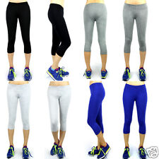 Large Women Athletic Workout Fitness Training Yoga Waistband Tights Capri Pants