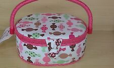 BNWT-Hobby Gift-Small Oval Colourful Sweets Design Fabric Covered Sewing Box