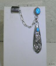 STERLING SILVER OLD PAWN NAVAJO TURQUOISE EAGLE PIERCED EARRING & EAR CUFF