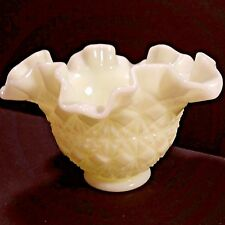 Vintage Olde Virginia Glass (Fenton) Yellow/Green Milk Glass Crimped Bowl