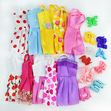 20 Items 10Pcs Wedding Fashion Gown Dresses & Clothes 10 Shoes For Barbie Doll