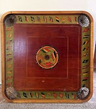 "Antique Wood Carrom Combination Game Board Two Sided 29"" Sq Checkers"
