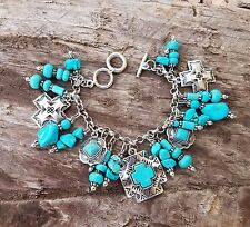 COWGIRL BLING CONCHO SILVER TONE CROSS CHARM TURQUOISE SOUTHWESTERN BRACELET