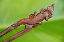 Handmade finely carved LIZARD short wooden HAIR PIN FORK PICK Sono wood CUTE new