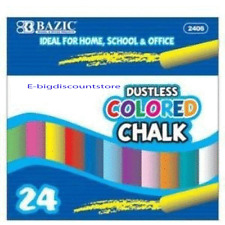 24 PCS DUSTLESS CHALK COLOR BAZIC ITEM 2406 Kid Drawing walk Home school Office