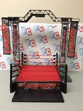 "WWE Wrestling Jakks Real Sounds Arena Raw Ring Play Set for 6-7"" Figures Mattel"