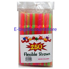 250 STRAW Bendable Flexible Plastic DRINKING Party Bendy Straw Neon Assort Color