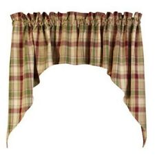 BURGUNDY GREEN BRANDYWINE Plaid Curtain Window Valance Swag Primitive Country