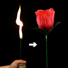 Stage Close Up Magic Trick Torch Rose to Fire Tricks Flame Appearing Flower New