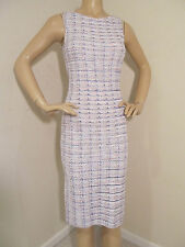 NEW ST JOHN KNIT 16 WOMENS DRESS BRIGHT WHITE PINK FLAMINGO & BLUE TWEED WOOL