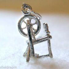 SPINNING WHEEL Vintage Sterling Silver Traditional Charm 3D Sewing Spinning Yarn