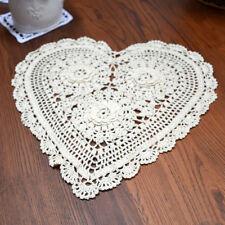 Fine Yarn Hand Crochet Heart Shape 3D Flower Cotton Doily 33x33CM Beige