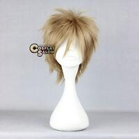 Fashion 30cm Short Layered Dark Blonde Unisex Anime Cosplay Hair Wig + Wig Cap