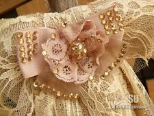 LARGE Burlap Lace Wedding Bow-Pew bow chair Shabby Rustic Chic PINK flower CREAM