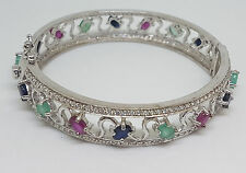 GENUINE HEATED ASIA BLUE SAPPHIRE RUBY EMERALD STERLING 925 SILVER BANGLE