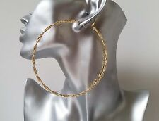 "NEW IN! Gorgeous HUGE gold tone twisted sparkly big hoop earrings, 4"" - 10cm"
