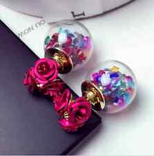 Ladies Double Side Rose Flower Stud Earring A5
