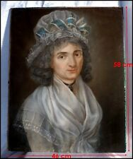 Portrait de Mademoiselle Charlotte d'Armont Pastel époque 18e Portrait Noblesse