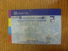 17/02/2001 Ticket: Rugby Union - Scotland v Wales [At Murrayfield] (Folded). Any