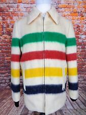 VINTAGE 60s PEERLESS WOOL HUDSON BAY STRIPE BLANKET COAT JACKET M REVERSIBLE